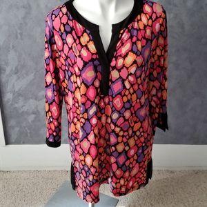 Dana Buchman Multi-Color Tunic Blouse Sz Large